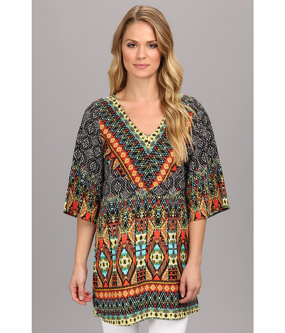 Christin Michaels - Aztec Print Top (Black) Women's Short Sleeve Pullover