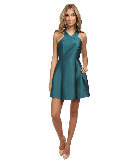 tibi - Simona Jacquard Sleeveless Dress (Emerald) Women's Dress