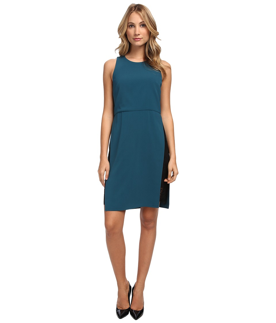 tibi - Arden Crepe w/ Chantilly Lace Sleeveless Dress (Emerald) Women's Dress