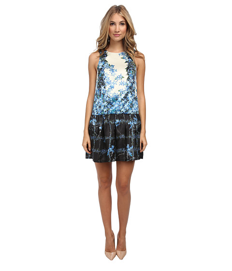 tibi - Sidewalk Floral On Silk Gazaar Sleeveless Flirty Dress (Sapphire Multi) Women's Dress