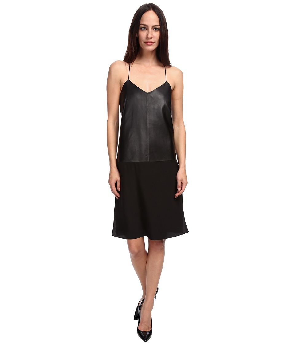 tibi - Leather w/ Silk Slip Dress (Black) Women's Dress