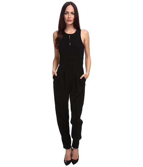 tibi - Arden Crepe w/ Chantilly Lace Jumpsuit (Black) Women