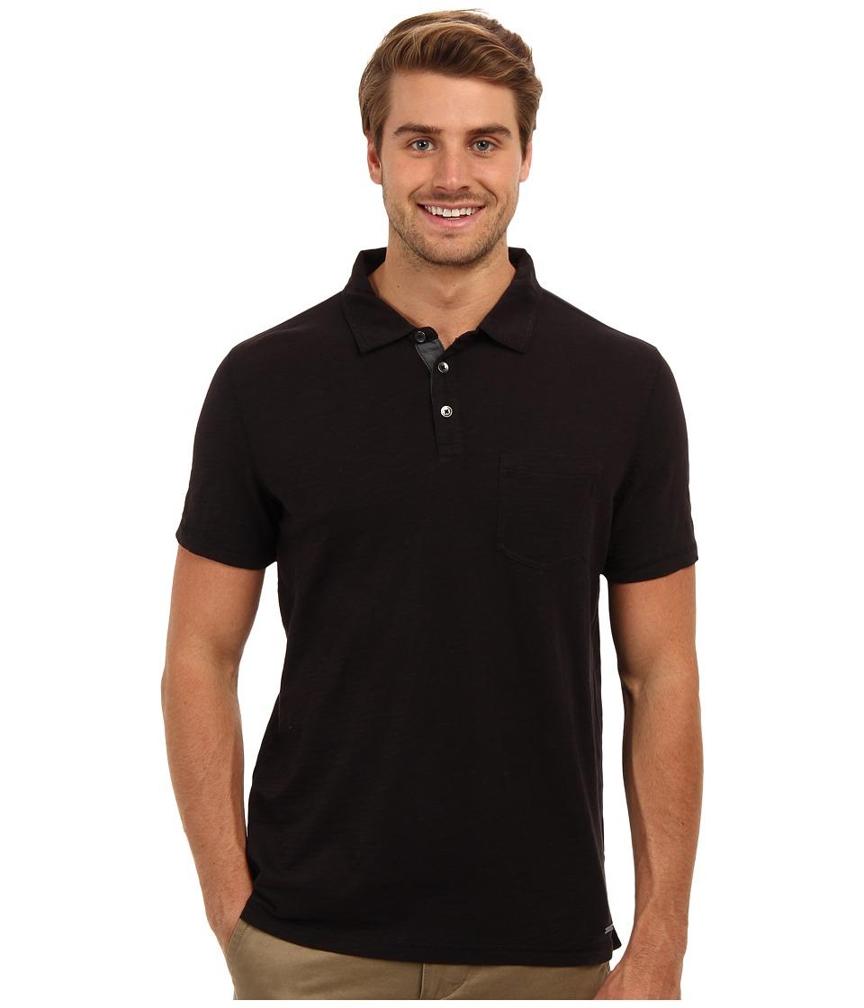 Calvin Klein Jeans - Edi Slub Jersey Polo (Black) Men's Short Sleeve Pullover