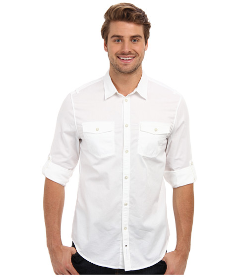 Calvin Klein Jeans - Basic '14 Woven - Solid (White) Men's Long Sleeve Button Up