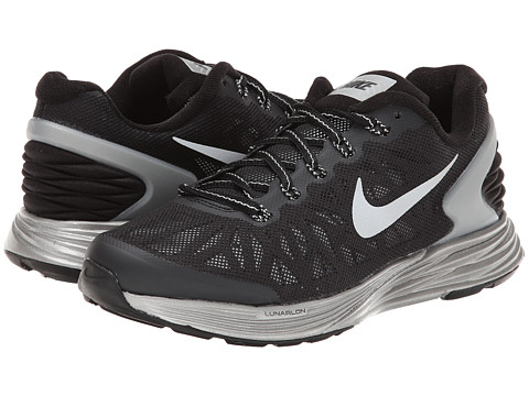 Nike Kids - Lunarglide 6 Flash (GS) (Big Kid) (Black/White/Reflect Silver) Boys Shoes