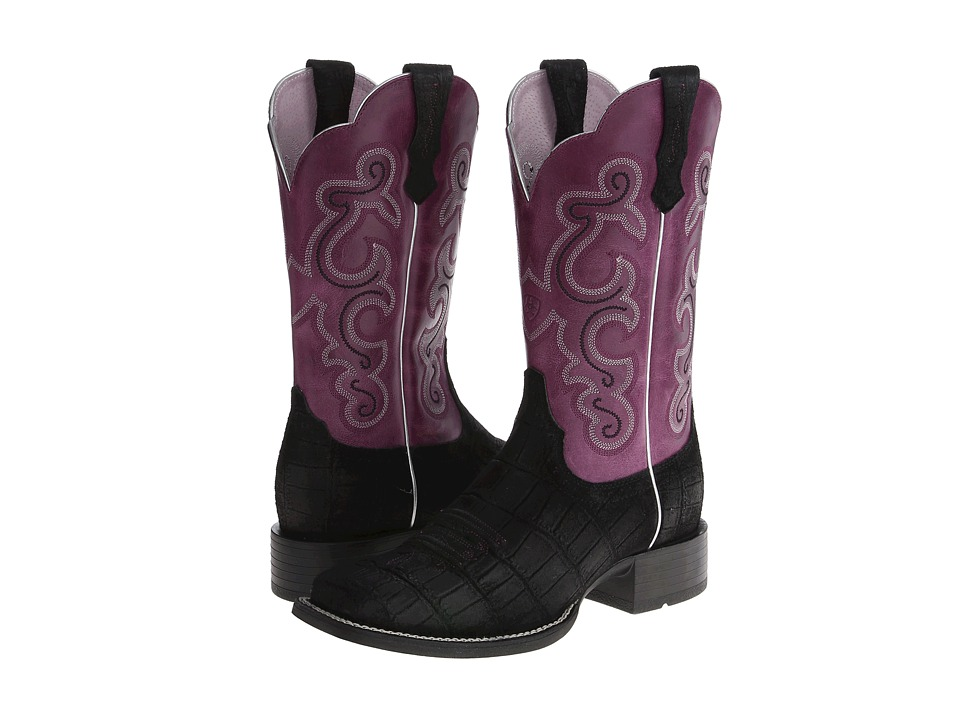 Ariat - QuickDraw (Black Buffed Gator Print/Fig) Cowboy Boots