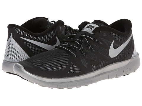 Nike Kids - Free 5.0 Flash (GS) (Big Kid) (Black/Wolf Grey/Reflect Silver) Boys Shoes