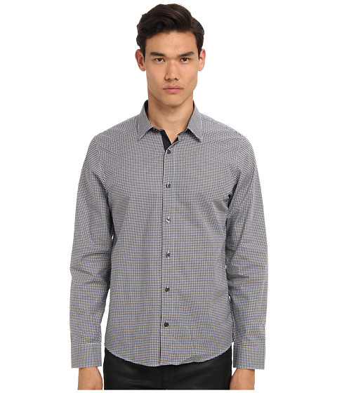 Michael Kors - Myles Check Tailored Shirt (Midnight) Men's Long Sleeve Button Up