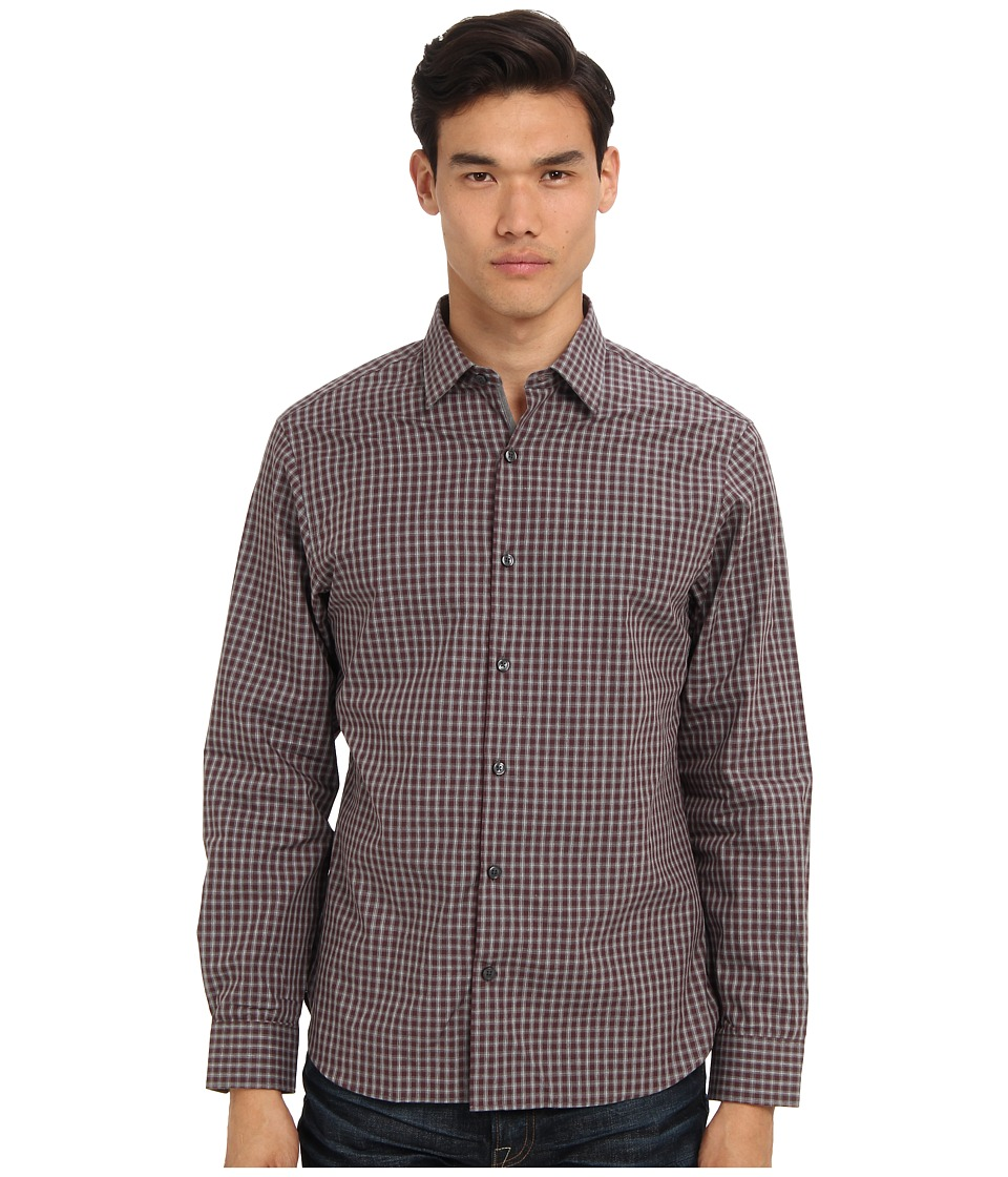 Michael Kors - Floyd Check CEO Shirt (Dark Bordeaux) Men's Long Sleeve Button Up