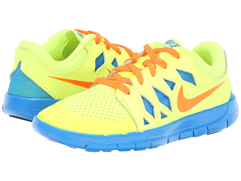 Nike Kids - Free 5 (Little Kid) (Volt/Photo Blue/White/Hyper Crimson) Kids Shoes