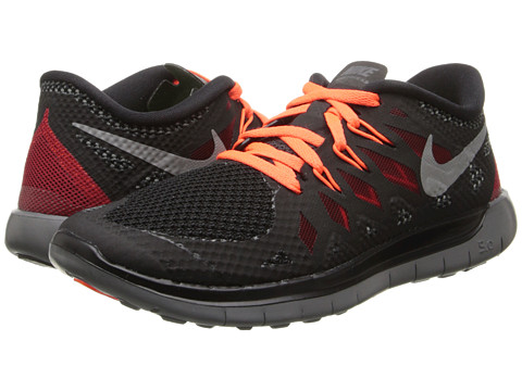 Nike Kids - Free 5.0 (Big Kid) (Black/Dark Grey/Gym Red/Metallic Silver) Kids Shoes