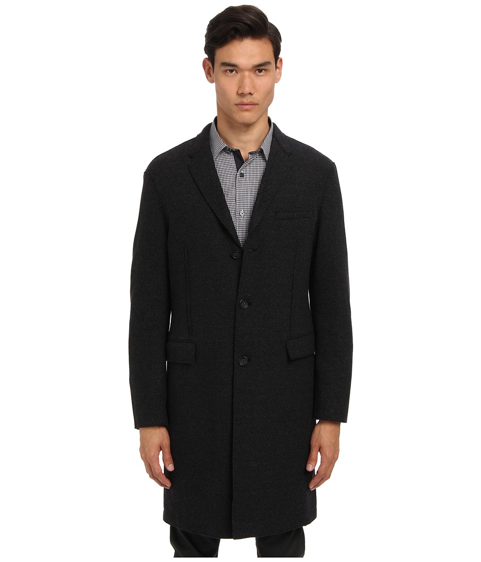 Michael Kors - Herringbone Knit Crombie (Charcoal Melange) Men's Coat