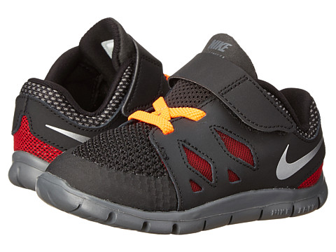 Nike Kids - Free 5 (Infant/Toddler) (Black/Dark Grey/Gym Red/Metallic Silver) Kids Shoes