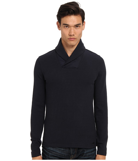 Michael Kors - Waffle Shawl Pullover (Midnight) Men