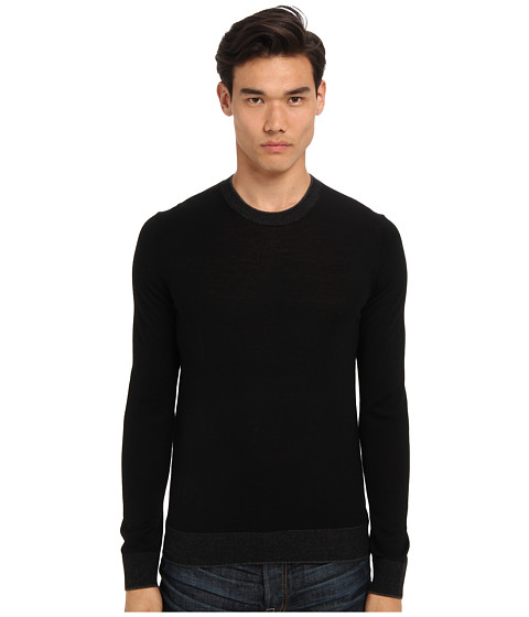 Michael Kors - Tipped Merino Crew Sweater (Black) Men's Long Sleeve Pullover