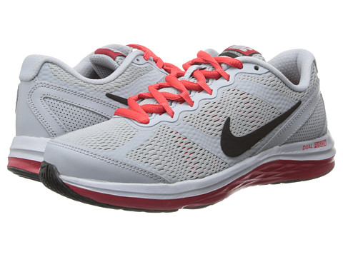 Nike Kids - Dual Fusion Run 3 (Big Kid) (Light Magnet Grey/Metallic Silver/Gym Red/Black) Boys Shoes