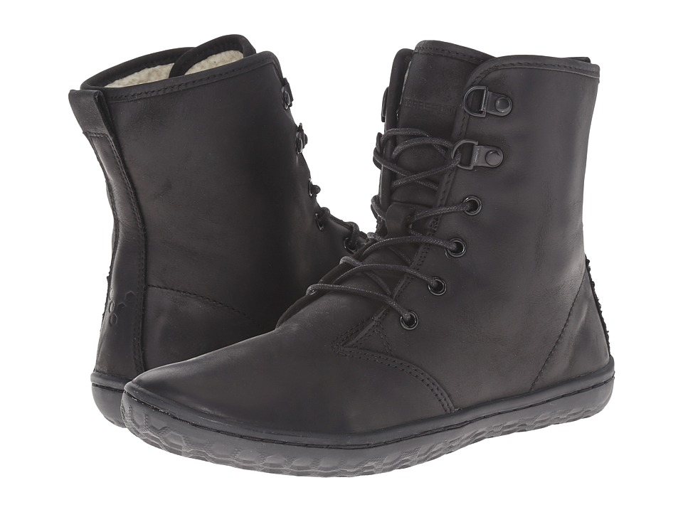 Vivobarefoot - Gobi Hi-Top (Black Leather/Shearling WP) Women's Lace-up Boots