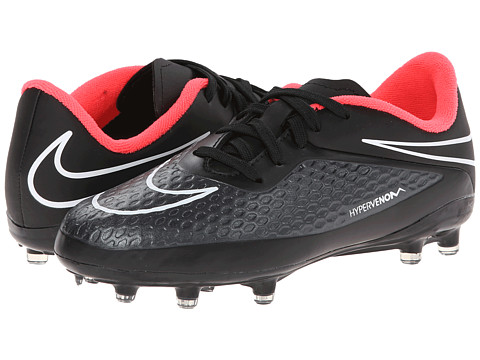 Nike Kids - Jr Hypervenom Phelon FG Soccer (Toddler/Little Kid/Big Kid) (Black/Hyper Punch/Black) Kids Shoes
