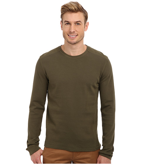 Calvin Klein Jeans - L/S Mixed Media Waffle Pullover (Olive Bravery) Men's T Shirt