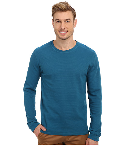 Calvin Klein Jeans - L/S Mixed Media Waffle Pullover (Ink Blue) Men's T Shirt