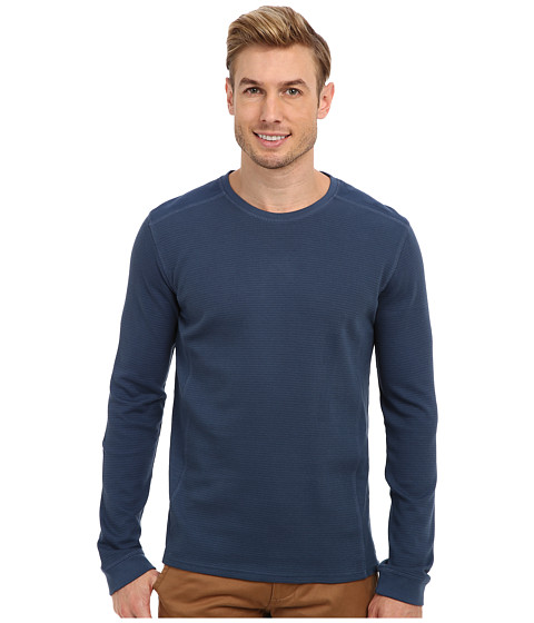 Calvin Klein Jeans - L/S Mixed Media Waffle Pullover (Faded Navy) Men