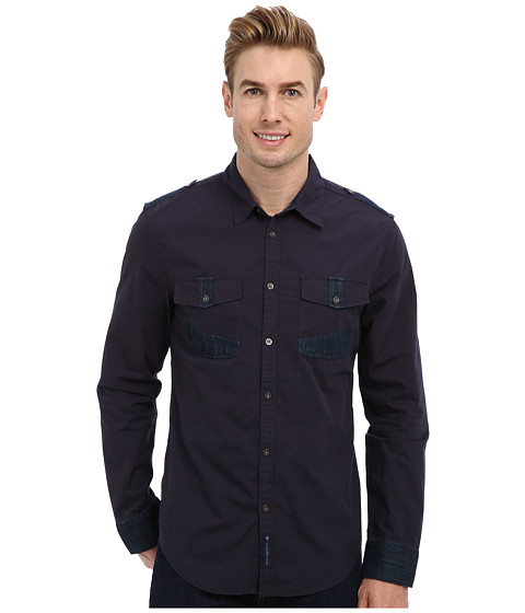 Calvin Klein Jeans - L/S Contrast Trim Woven Shirt (Midnight Navy) Men's Long Sleeve Button Up