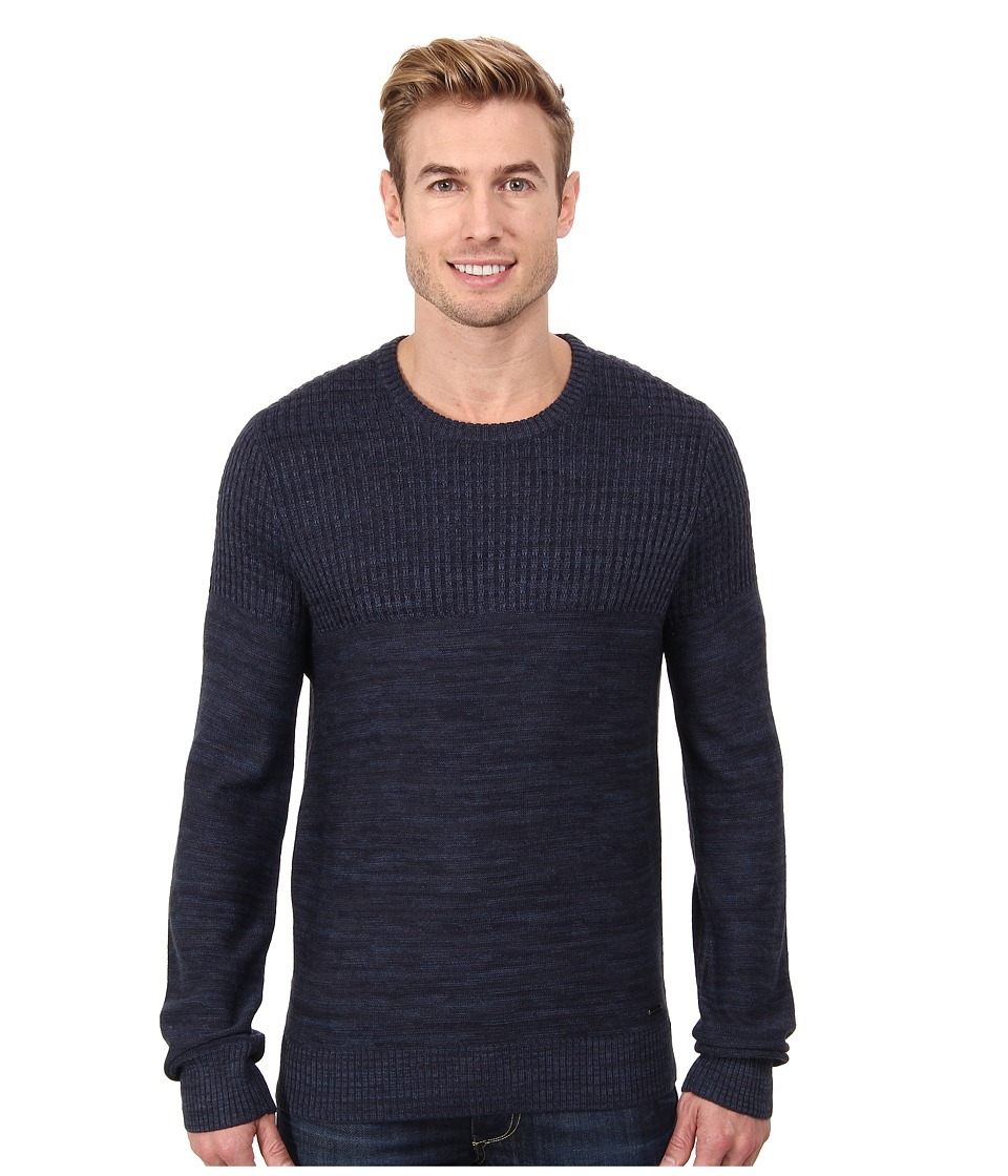 Calvin Klein Jeans - Parallel Knit Stripe Crew Neck Sweater (Navy Armada) Men