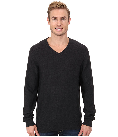 Calvin Klein Jeans - Slub V-Neck Sweater (Dark Charcoal Heather) Men