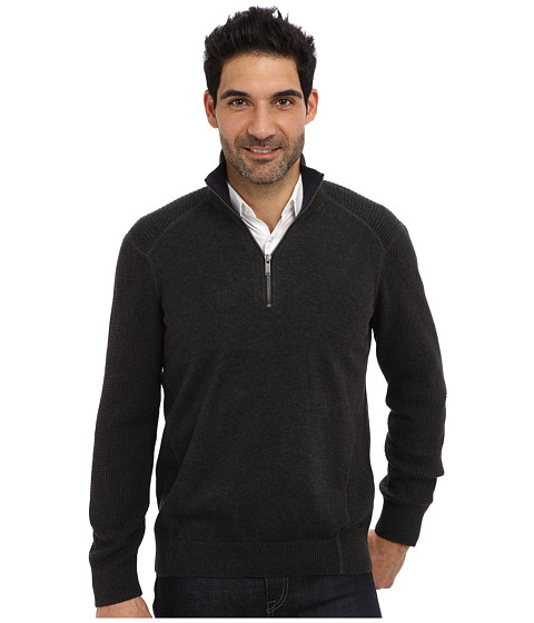 Calvin Klein Jeans - Texture Quarter Zip Sweater (Dark Charcoal Heather) Men's Sweater