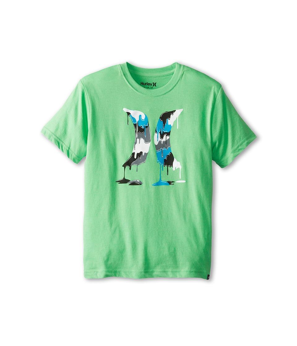 Hurley Kids Drippy Tee Boys Short Sleeve Pullover (Green)