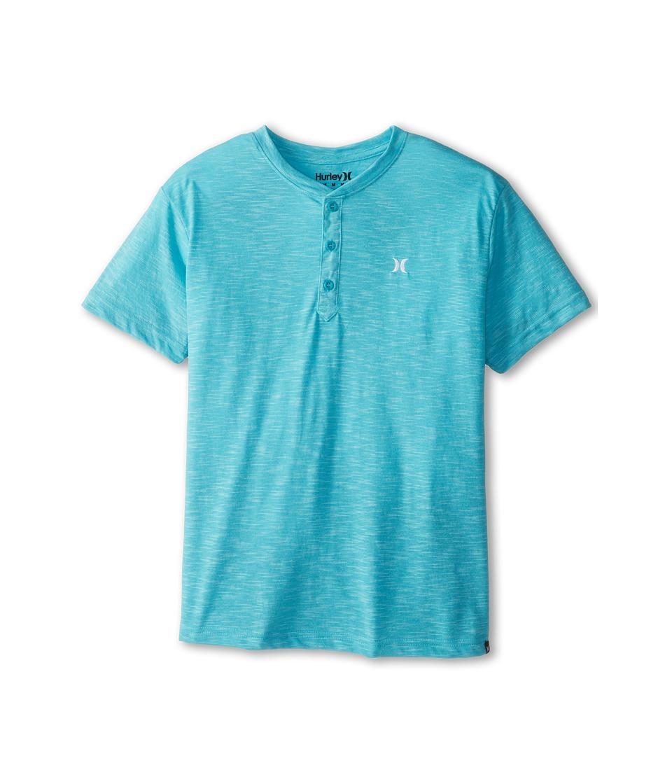 Hurley Kids Harden Henley Boys Short Sleeve Pullover (Blue)