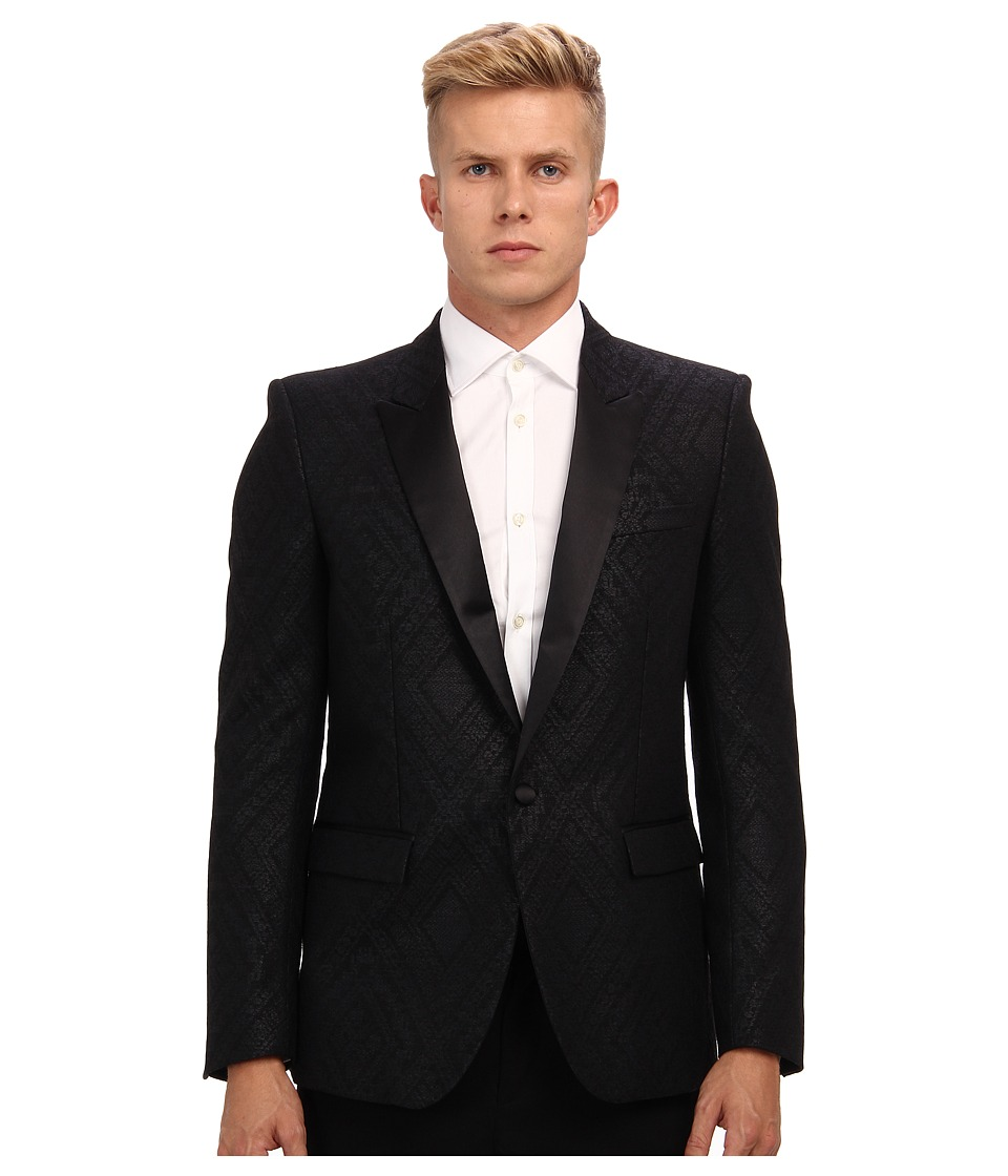 Just Cavalli - Diamond Pattern Blazer (Black) Men's Jacket