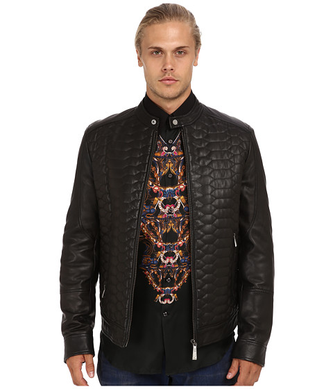 Just Cavalli - Leather Sports Jacket (Black) Men