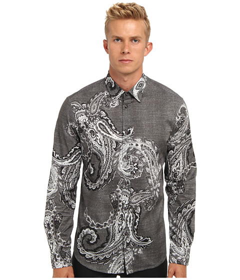 Just Cavalli - Mirkash Print Slim Fit Shirt (Grey) Men's Clothing