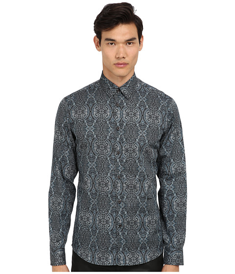 Just Cavalli - Alambra Print Slim Fit Shirt (Blue) Men