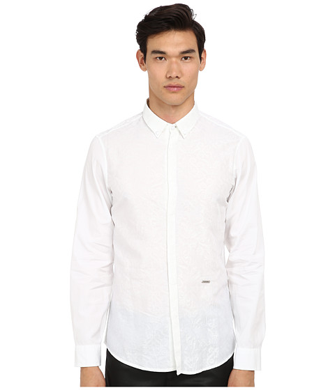 Just Cavalli - Slim Fit Shirt (White) Men's Long Sleeve Button Up