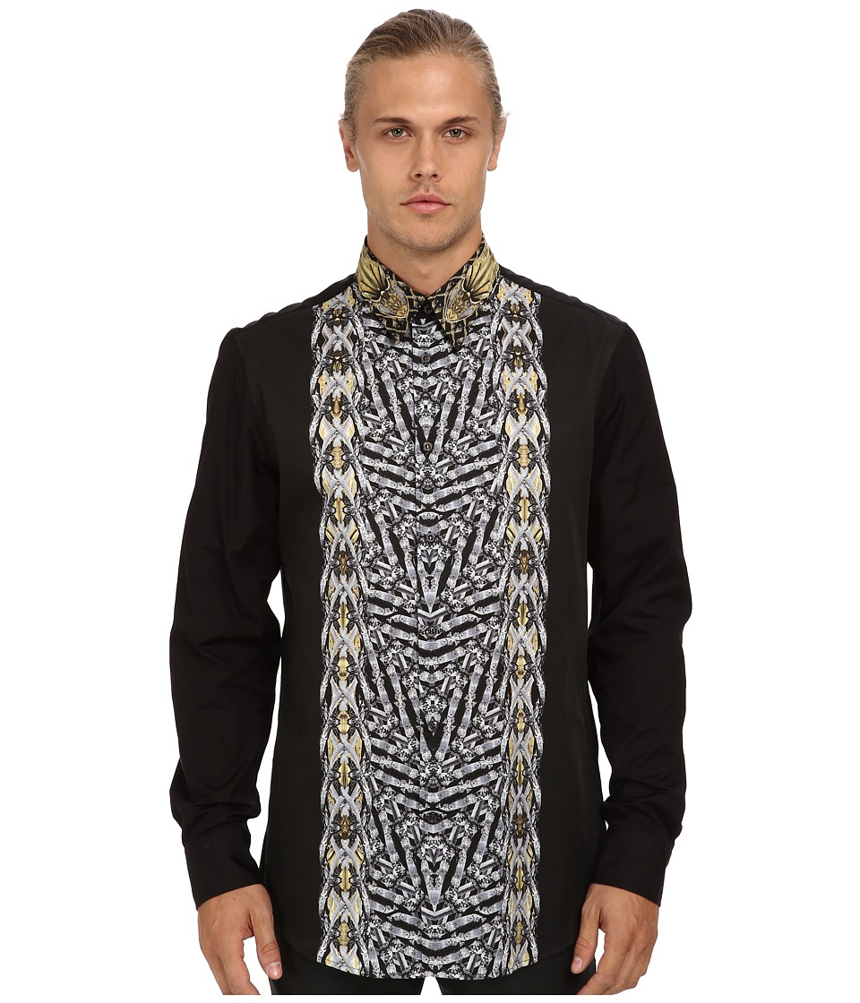 Just Cavalli - Gipsy Duel Print Regular Fit Shirt (Black) Men's Long Sleeve Button Up