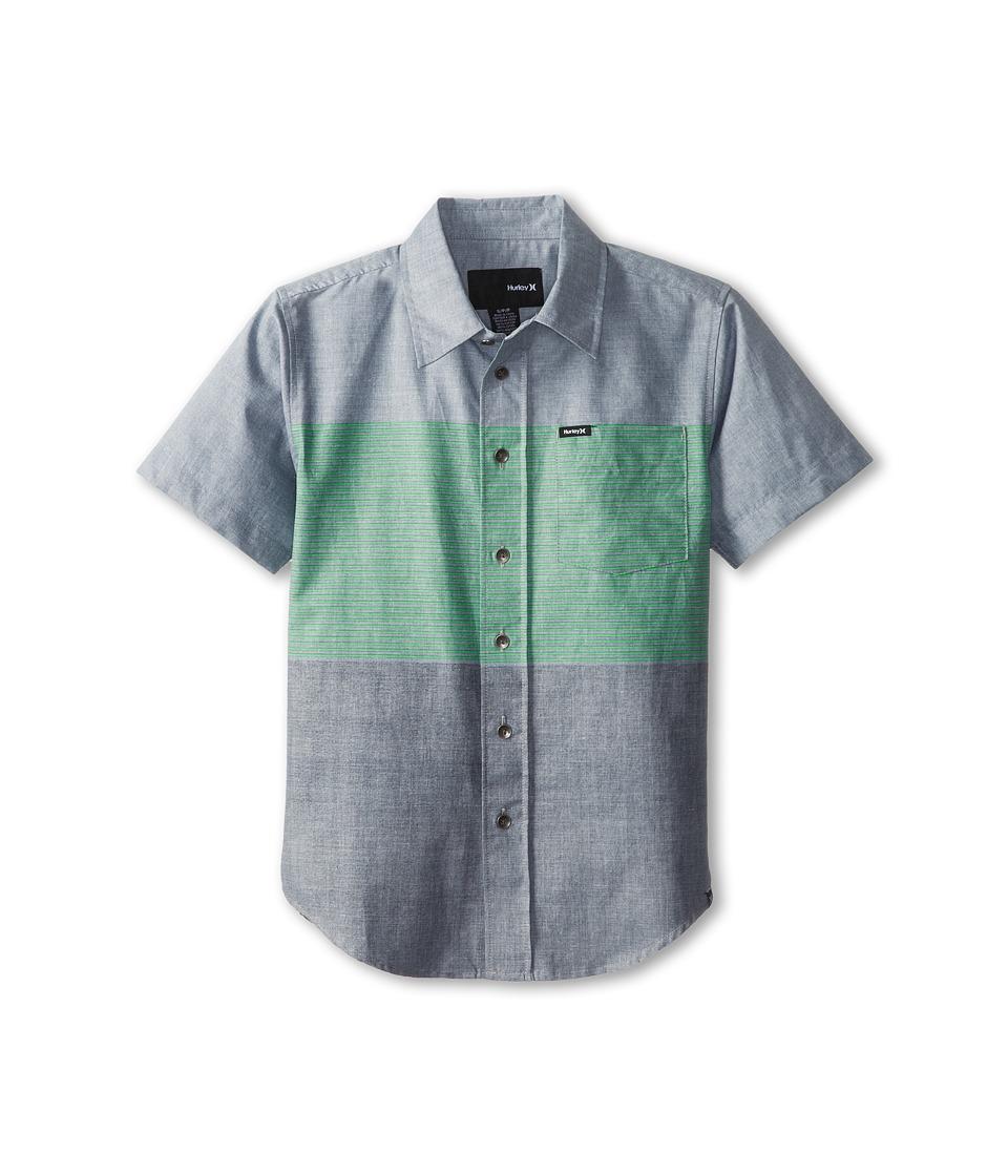 Hurley Kids Blockade S/S Woven Top Boys Short Sleeve Button Up (Gray)
