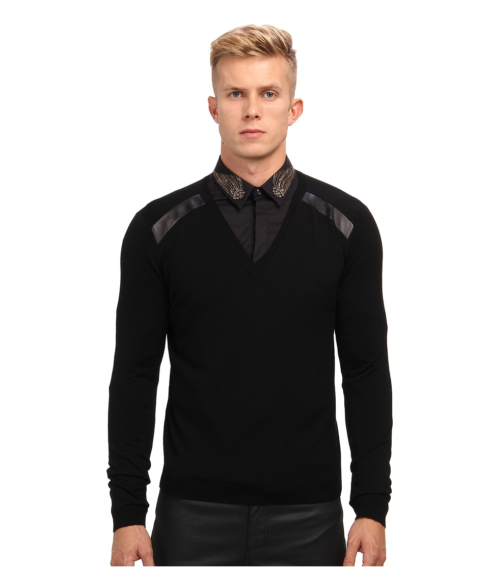 Just Cavalli - Leather Shoulder Detail Pullover (Black) Men's Sweater