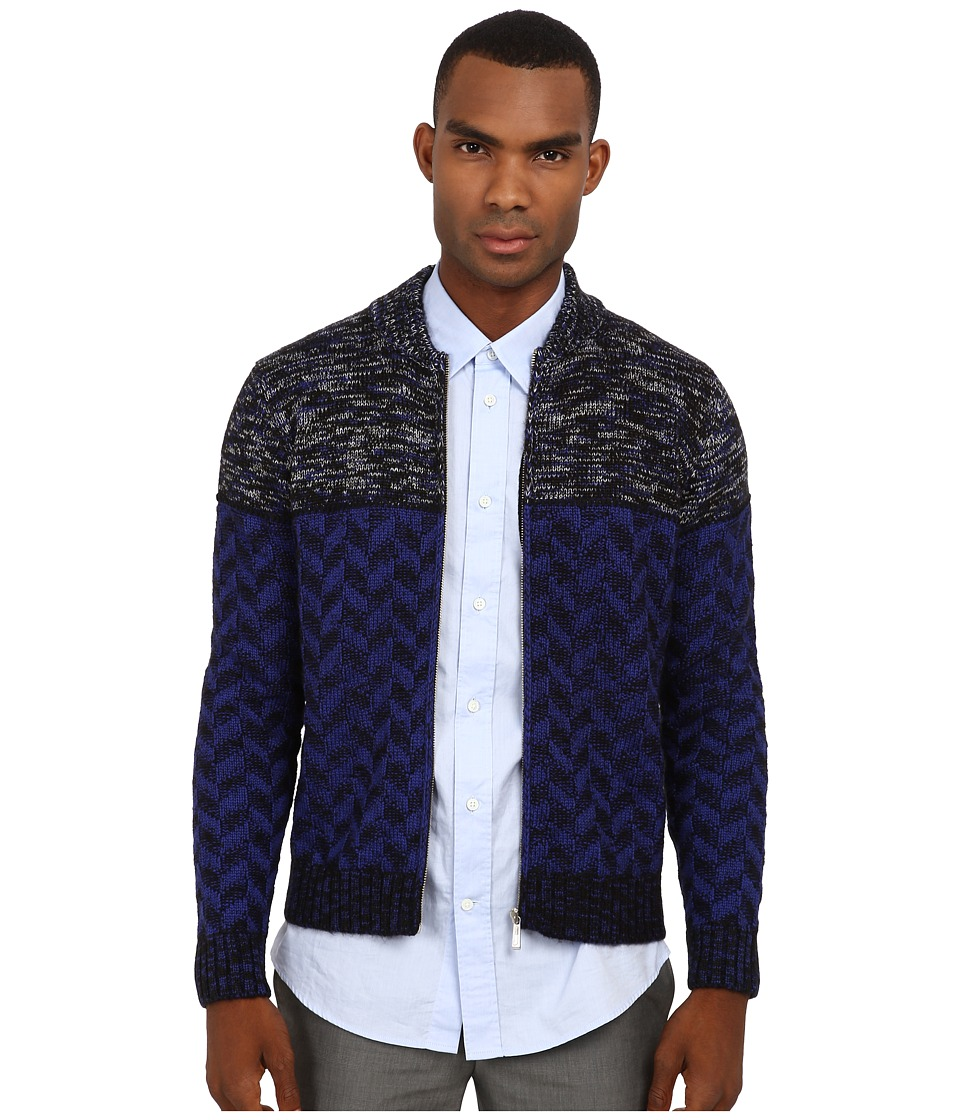Just Cavalli - Duel Pattern Knit Zip Sweater (Black) Men's Sweater