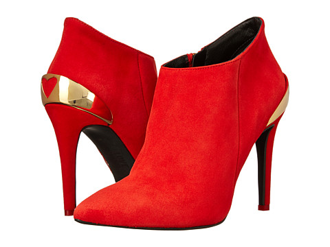LOVE Moschino - Ankle Boot with Plated Heart Detail (Red) Women