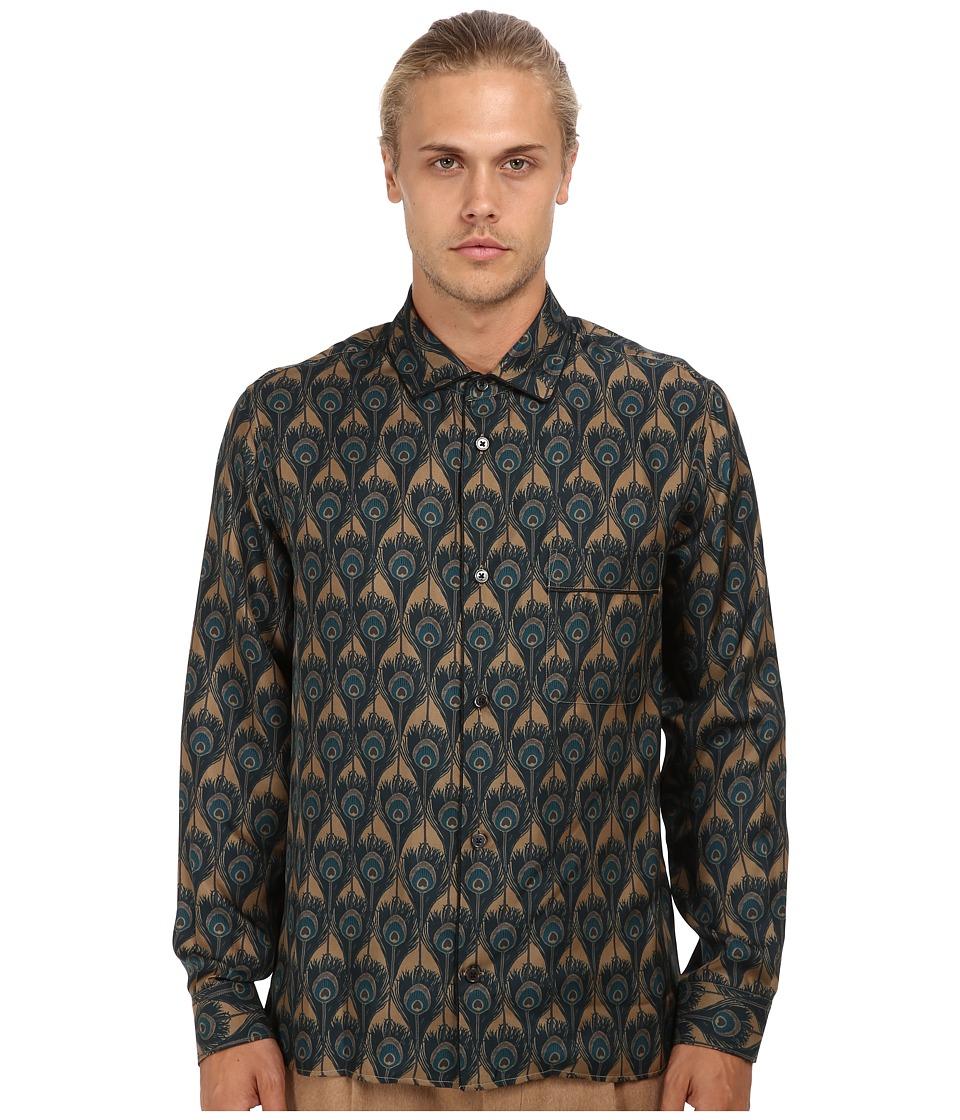 Marc Jacobs - Runway Silk Peacock Button Up (Mink) Men's Long Sleeve Button Up
