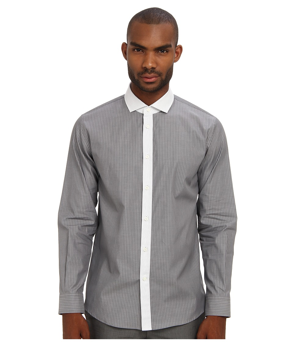Marc Jacobs - L/S Contrast Placket Pinstripe Button Up (Black) Men's Long Sleeve Button Up
