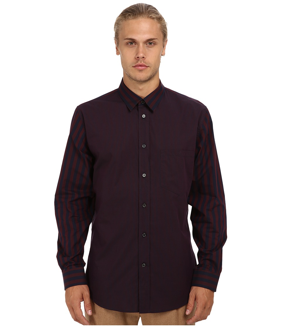 Marc Jacobs - Contrast Blocked Button Up (Blue/Red) Men's Long Sleeve Button Up
