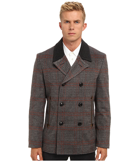 Marc Jacobs - Runway Check Pea Coat (Mink Check) Men's Coat