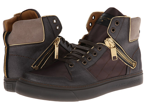 Marc Jacobs - Zipper Detail Hi-Top Trainer (Brown Combo) Men's Shoes
