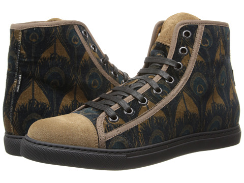 Marc Jacobs - Peacock Print Hi-Top Trainer (Khaki) Men's Shoes