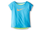 Nike Kids Dri-FIT Swoosh Fashion Tee (Toddler) (Vivid Blue) Girl's Short Sleeve Pullover