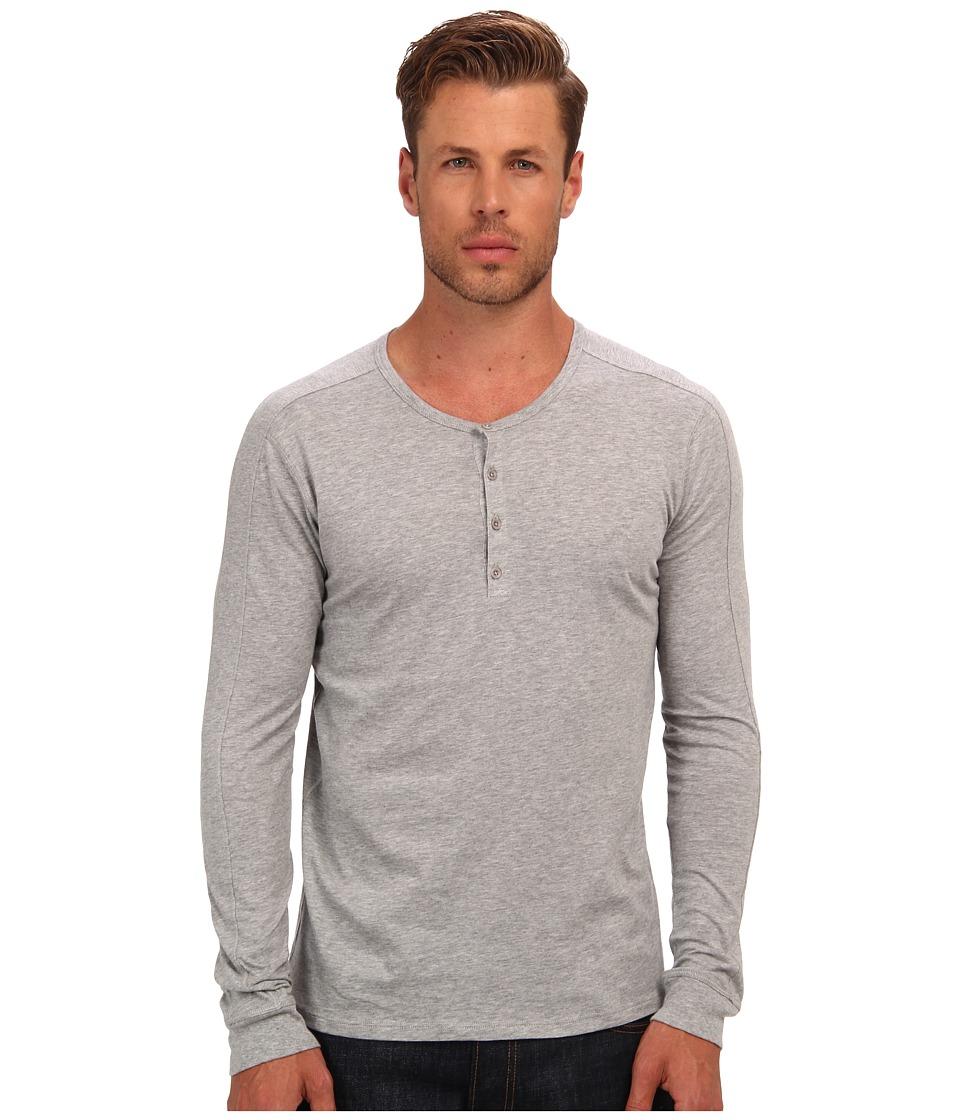 Vince - Henley (Heather Steel) Men's Long Sleeve Pullover