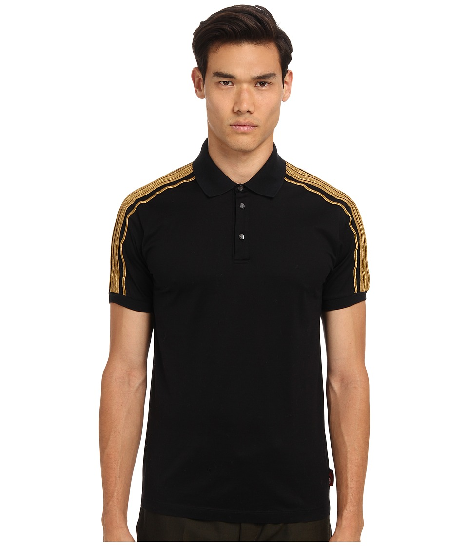 Marc Jacobs - Gold Trim Polo (Black) Men's Short Sleeve Pullover